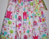 Pillowcase Dress Fairytale Princess Land Pink Lime Green with Castles Carriages Ponies Owls Rainbows baby toddler girl