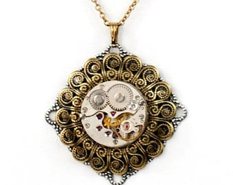 Steampunk Layered Necklace with Antiqued Brass Filigree and Vintage Watch Movement by Velvet Mechanism