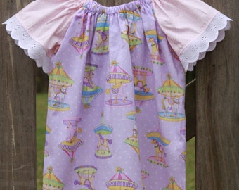 Pretty Merry-Go-Round Lavender and Pink Peasant Dress Size 3-4