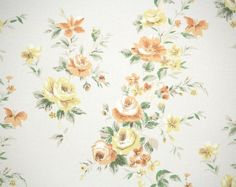 1950s Vintage Wallpaper by the Yard - Floral Wallpaper with Cascading Yellow and Orange Roses on White