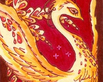 Original Art ACEO Phoenix, Fantasy Bird Illustration, ATC Artcard, Folkart, Pop Art, Red Yellow, Fairytales