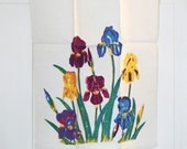 vintage iris linen tea towel - 40s 50s kitchen towel - cottage decor