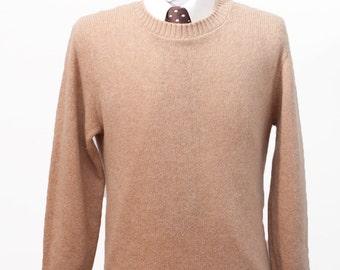 Men's Sweater / Vintage Beige Wool Knit / Size Large