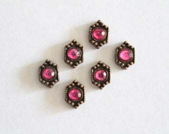 Vintage copper two hole beads with purple rhinestones 10x7mm (6)