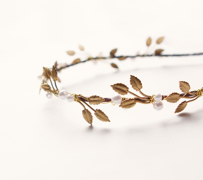 leaf pearl headpiece bridal hair crown metal leaf headpiece