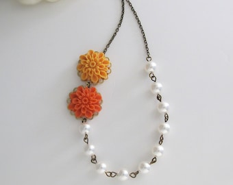 Autumn Fall Orange Ombre Pompom Flower White Swarovski Pearls Woodlands Necklace. Fall Jewelry Bridesmaid Gift. Bridal Necklace Fall Wedding