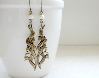 Lily of the valley earrings, brass - nature jewelry, woodland flower, long dangles