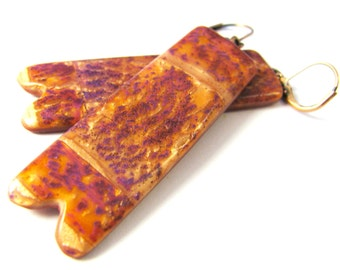 CLEARANCE 50% OFF  Polymer Clay Earrings - Fabulous Faux Collection - Violet Druzy Statement Earrings Notched