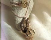 Rhinestone Bronze Tentacle Seashell Creature Clay Necklace