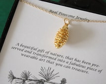 Gold Pinecone Necklace, Gold, Real PineCones, Gold Pine Cones, Christmas Card, Christmas Gift, PC27