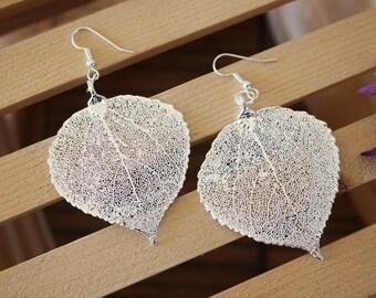 Silver Leaf Earrings, Aspen Leaf , Real Leaf Earrings, Real Silver Aspen Leaf, Sterling Silver, Nature, LEP55
