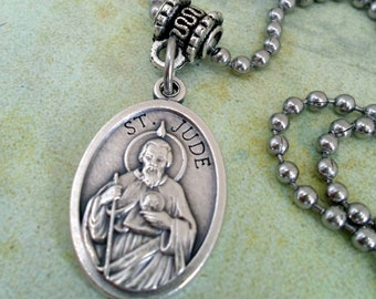 St. Jude Miracle Worker, Saint of Lost or Hopeless Causes,  Holy Medal Necklace, Catholic Jewelry