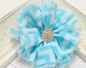 New! 5pcs Handmade soft shabby chiffon flowers--blue/white (FB1048)