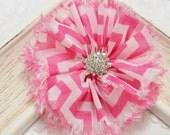New! 2pcs Handmade soft shabby chiffon flowers--dark carnation/white (FB1048)