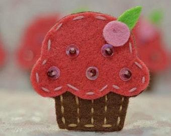 Set of 6pcs handmade felt cupcake--watermelon (FT009)
