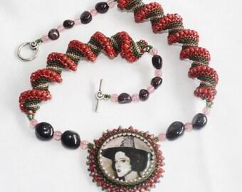 Garnet Witch Goddess Necklace