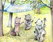 Woodland music Band, Raccoon, Fox, Bear, Poster ,illustration, Print, 11.69 x 16.54 inches (A3)