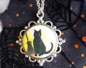 Retro Black Cat Familiar with Broomstick Pendant on Silver Plated Chain