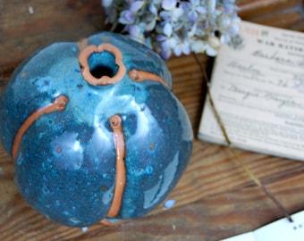Organic Slate Blue Bottle with Rust