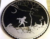 Vintage Painted Silhouette on Glass, Sledding by Crescent Moon, JRT, Terrier Dog, Night Snow Sledding