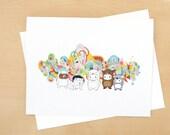 owlo animals - greeting card (blank)