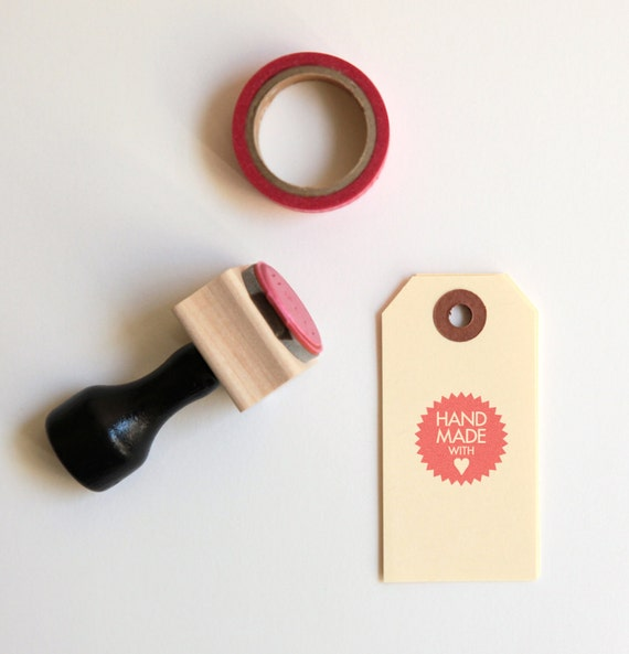 Handmade With Heart Rubber Stamp (Wood Mounted) Petite Starburst Design with optional wooden handle (SP705)