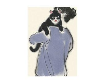 "Cat illustration tuxedo cat print  Henry and June - 4"" X 6"" animal portrait - 4 for 3 SALE"