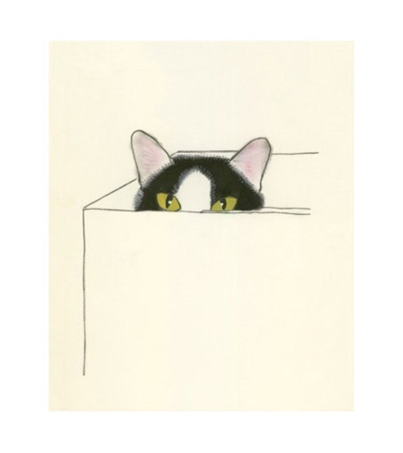 "Cat Art print - I Heart Boxes - 5.8"" X 8.3"" - 4 for 3 SALE"