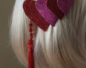 Sparkly Heart Hair Clip - Glittery Leather Heart Hair Barrette - Ready to ship
