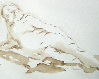 Figure Drawing -- Male Reclining - Original Ink on Paper -  by Michelle Arnold Paine