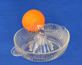 Vintage Depression Clear Pressed Glass Citrus Reamer Fruit Juicer
