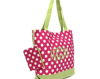 Personalized Tote Bag Hot Pink White Polka Dots  Monogrammed Dance Cheer