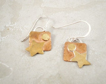 Whimsical Starry Night earrings.  Stars and Moon. Great Gift idea.