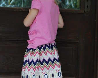 Girls Purple Gold and Pink Chevron Skirt Custom Made Sizes 12-18 months, 18-24 months, 2T,3T,4T,5,6,7,8year