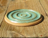 Pottery Soap Dish - Light Sage Green with Brown Accents