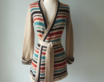70's striped cardigan / wrap sweater / 1970s sweater coat
