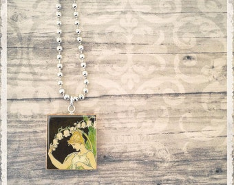 Scrabble Art Pendant - Lady Lily Of The Valley - Scrabble Game Tile Jewelry - Customize - Choose Your Style