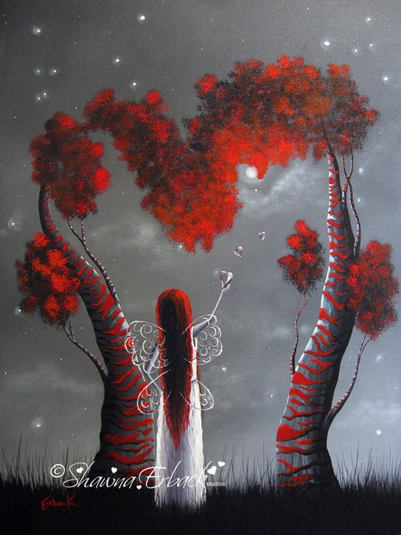 Enchantress FAIRY ART PRINT gothic beautiful stunning Red Tree Love Hearts Modern faery