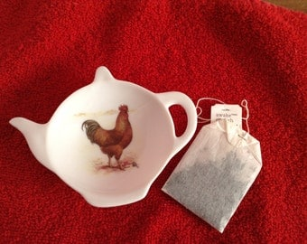 Ceramic Teabag Holder  Majestic Rooster  Reddish Brown 4.5""