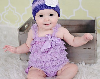 Baby Girl Hat 0 to 3 Month Purple Baby Hat Lavender Grape Baby Girl Clothes Crochet Flower Hat Flapper Spring Photo Prop Baby Girl Gift Cap