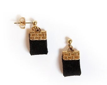 "Black ""Little Fat"" Faux Suede Earrings"