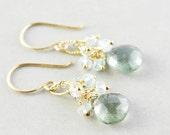 Moss Aquamarine Dangle Earrings, Cluster Earrings, March Birthstone, Mint Green Drop Earrings