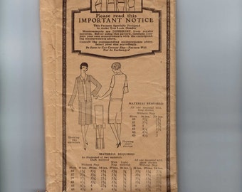 1920s Vintage Sewing Pattern Pictorial Review 3813 Misses Drop Waist Shirt Dress Gathered Shoulders Bust 35 Hip 42 20s Antique