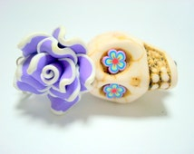 Large Ivory Purple Sugar Skull Rose Day of the Dead Pendant or Ornament