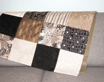 """patchwork blanket, black, white, taupe and beige 37.5"""" x 60"""""""