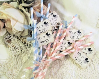 Baby Shower Straws Vintage Carriage Stroller Party w/Tags Favor - It's a Girl or Boy - Choose Straw & Ribbon Color - Set of 18 - Reveal