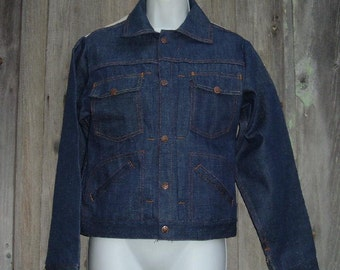 New Old Stock 70s Jeans Jacket S 32 Blue Denim Screen Door Threads to Personalize with Embroidery Vintage NOS