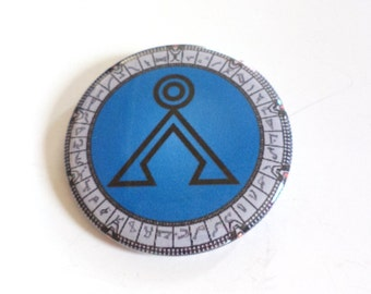 Stargate SG-1 Earth Symbol Pinback Button OR Magnet -- 2.25 inch
