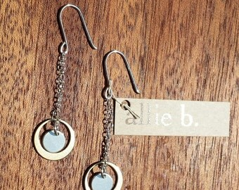 Chain, short, dangly, bronze, sterling, silver, hanging, subtle, classic, lightweight, movement, little, smooth, earrings