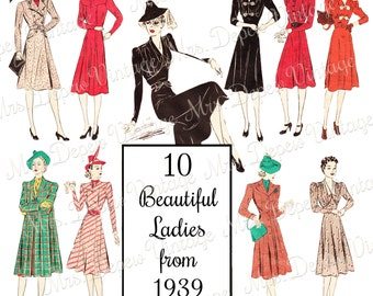1930's Fashion Themed Women Graphics Clip Art Package for ScrapBooking, Design, Digital Art - INSTANT DOWNLOAD